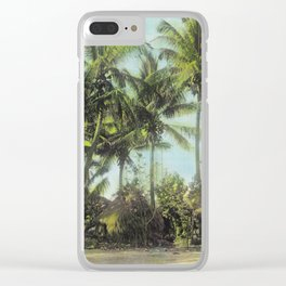 Little Grass Shacks Beneath Pam Trees in Hawaii Clear iPhone Case