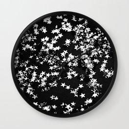 Black Night Glitter Stars #1 #shiny #decor #art #society6 Wall Clock