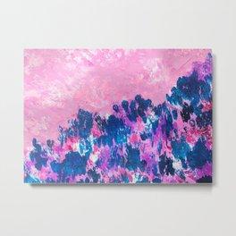 Pink Sky Floral Mountainside Landscape Metal Print