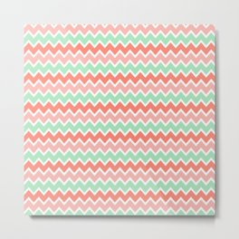 Coral Orange and Peach Pink and Mint Green Chevron Metal Print