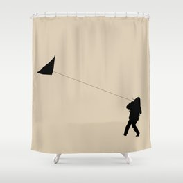 Little Girl with a Kite in Winter Grass Shower Curtain