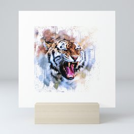 Snarling Wild Tiger with Paint Drips Mini Art Print