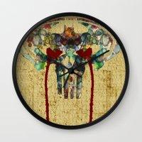 punisher Wall Clocks featuring Watercolor Punisher Bat by Joshua Epling