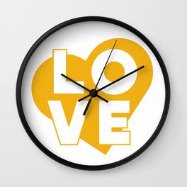 LOVE & heart // mustard Wall Clock