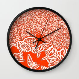 Dahlia Lino Cut, Fiery Red Wall Clock