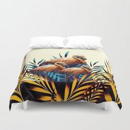 Decorative Tropical Deco Florida Flamingos Black-Cream Duvet Cover