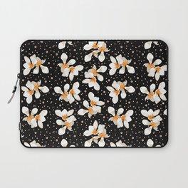 White And Orange Flowers On Black Laptop Sleeve