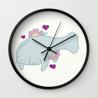 manatee Wall Clocks featuring Manatee by Katy Welte