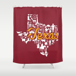 Schreiner Texas Landmark State - Maroon and Gold Schreiner University Theme Shower Curtain
