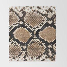 Pastel brown black white snakeskin animal pattern Throw Blanket