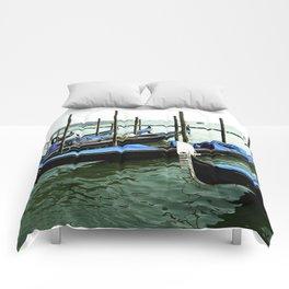 Cobalt Blue Gondola's of Venice Italy Comforters