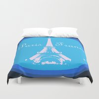 france Duvet Covers featuring Paris France by WhimsyRomance&Fun
