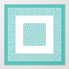 Greek Key turquoise Canvas Print