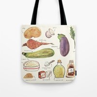 vegetables Tote Bags featuring Vegetables by Juliana Cuervo