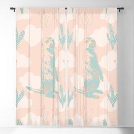 Pale Green Meerkats, Cactuses, Clouds on Orange Blackout Curtain