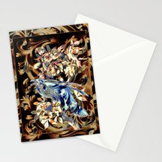 Acanthus Crow Blue On Brown Stationery Cards