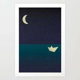 paper boat in the moonlight Art Print
