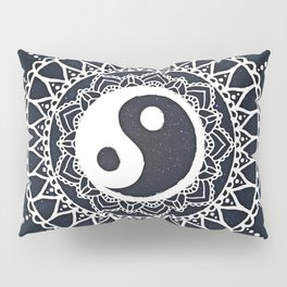 Yin Yang Mandala / White Mandala over stars Pillow Sham