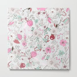 Mauve pink pastel green rustic floral gray stripes Metal Print