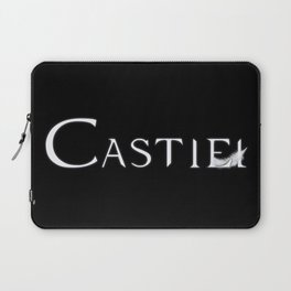 Castiel with Feather White Laptop Sleeve