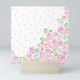 Garden Rose and Dots - Blush Mini Art Print