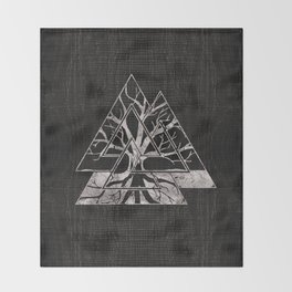 Valknut Symbol and Tree of life  -Yggdrasil Throw Blanket