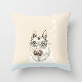 Diver Dog Throw Pillow