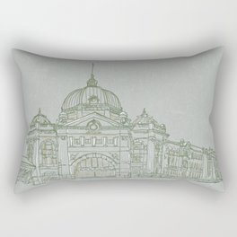 A Sketch of Flinders Street Railway Station on Gray Paper Rectangular Pillow