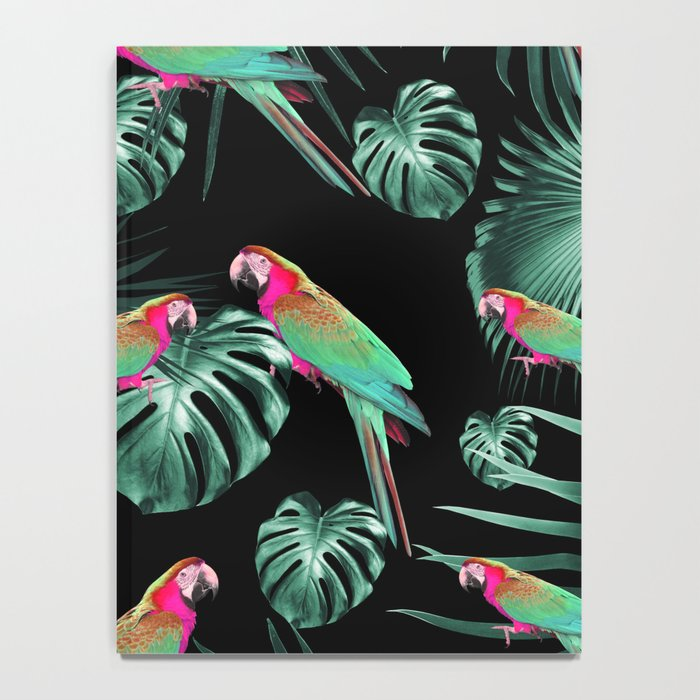 Parrots in the Tropical Jungle Night #1 #tropical #decor #art #society6 Notebook