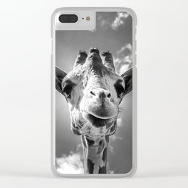 Cool Giraffe Black and White Clear iPhone Case