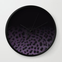 Leopard print ombre purple Wall Clock