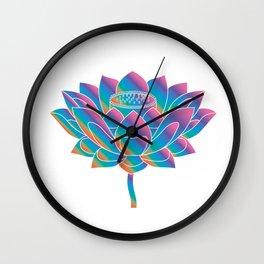 Blue Rainbow Lotus Holly Flower Wall Clock