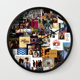 Classic Rock And Roll Albums Collage Wall Clock