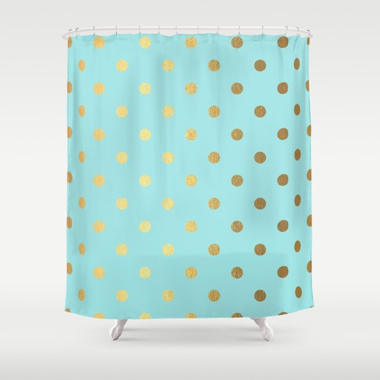 Gold Polka Dots On Aqua Background Luxury Turquoise Pattern