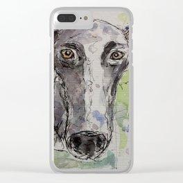 Greyhound portrait. Clear iPhone Case