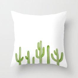 Cactus Row Watercolor Saguaro Throw Pillow