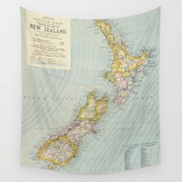 Vintage Map of New Zealand (1883) Wall Tapestry