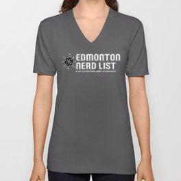 Edmonton Nerd List (B&W on dark) Unisex V-Neck