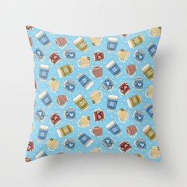 Cozy Mugs - Bg Blue Wood Throw Pillow