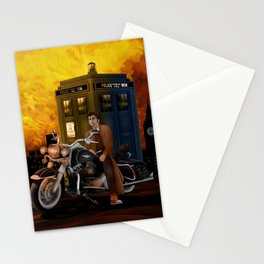 10th Doctor who with Big Motorcycle Stationery Cards