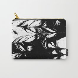 Marble black and white 3 Suminagashi watercolor pattern art pisces water wave ocean minimal design Carry-All Pouch