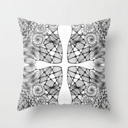 Black and White Zentangled Cross Tile Doodle Design Throw Pillow