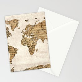 world map music vintage Stationery Cards