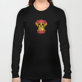 Cute Puppy Dog with flag of Spain Long Sleeve T-shirt