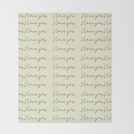 Hand written on old paper: I love you calligraphy script Throw Blanket