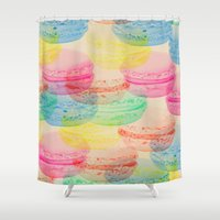 macaroon Shower Curtains featuring Macaroon Madness by Tyler Spangler