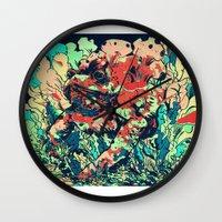 camo Wall Clocks featuring CAMO by NimbusBlack