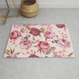 Blush Pink and Red Watercolor Floral Roses Rug