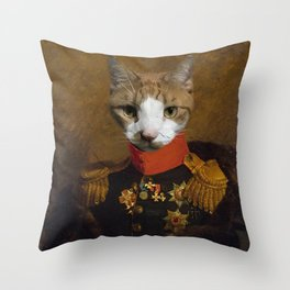 Sergeant Whiskers Throw Pillow