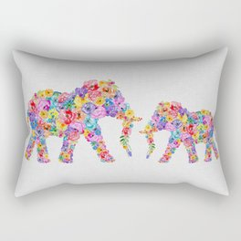 Floral Elephants Rectangular Pillow